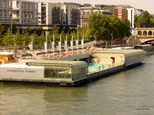 Paris Rive Gauche, Paris Summer travel, rive gauche on Seine, josephine baker, pool