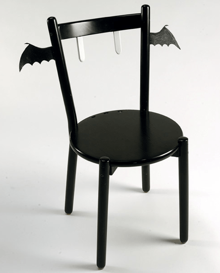 Halloween decorating, over the top halloween, decor, goth decorating, gothic home, bat chair