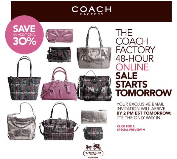 Coach factory sale 70% off all prices sign up