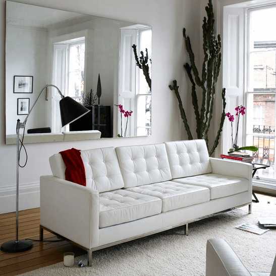 knoll couch, white leather couch, living room, modern design