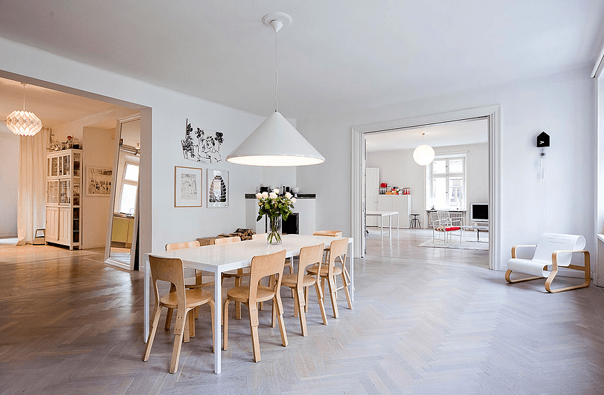 swedish dining room, paimio chair in a dining room
