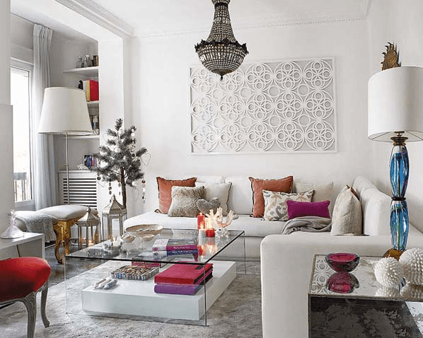 modern swedish living room, white couch, barcelona chair
