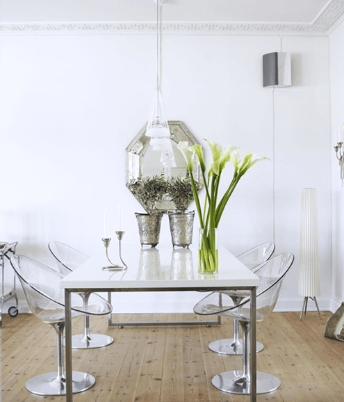 modern white dining table with clear chairs, swedish home design