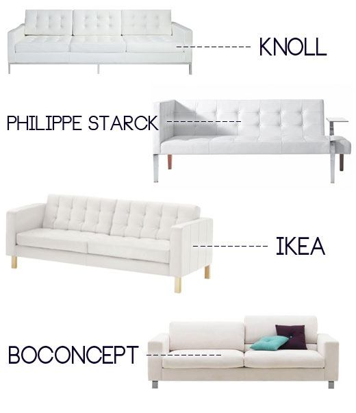 White Couch With Buttons, White Leather Couch, Knoll Couch, White Sofa,  Leather