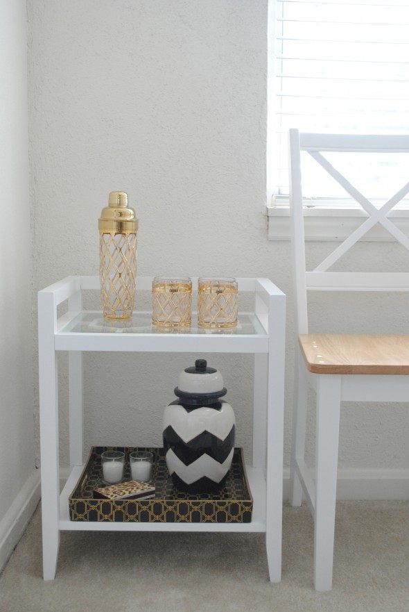 white accent table, threshold target, bar table, home bar