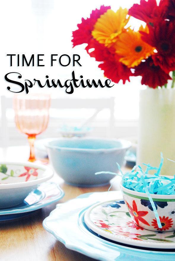 Inexpensive springtime tablesetting, easter table, cheap springtime decor