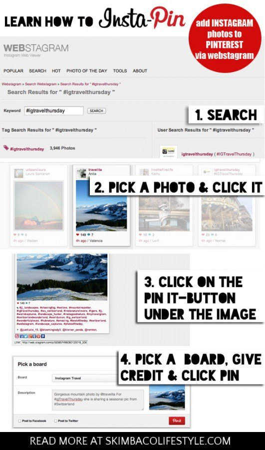 How to Insta-Pin - add your Instagram photos to Pinterest, tips from @skimbaco at https://skimbacolifestyle.com/2013/11/insta-pin-add-your-instagram-pictures-to-pinterest.html