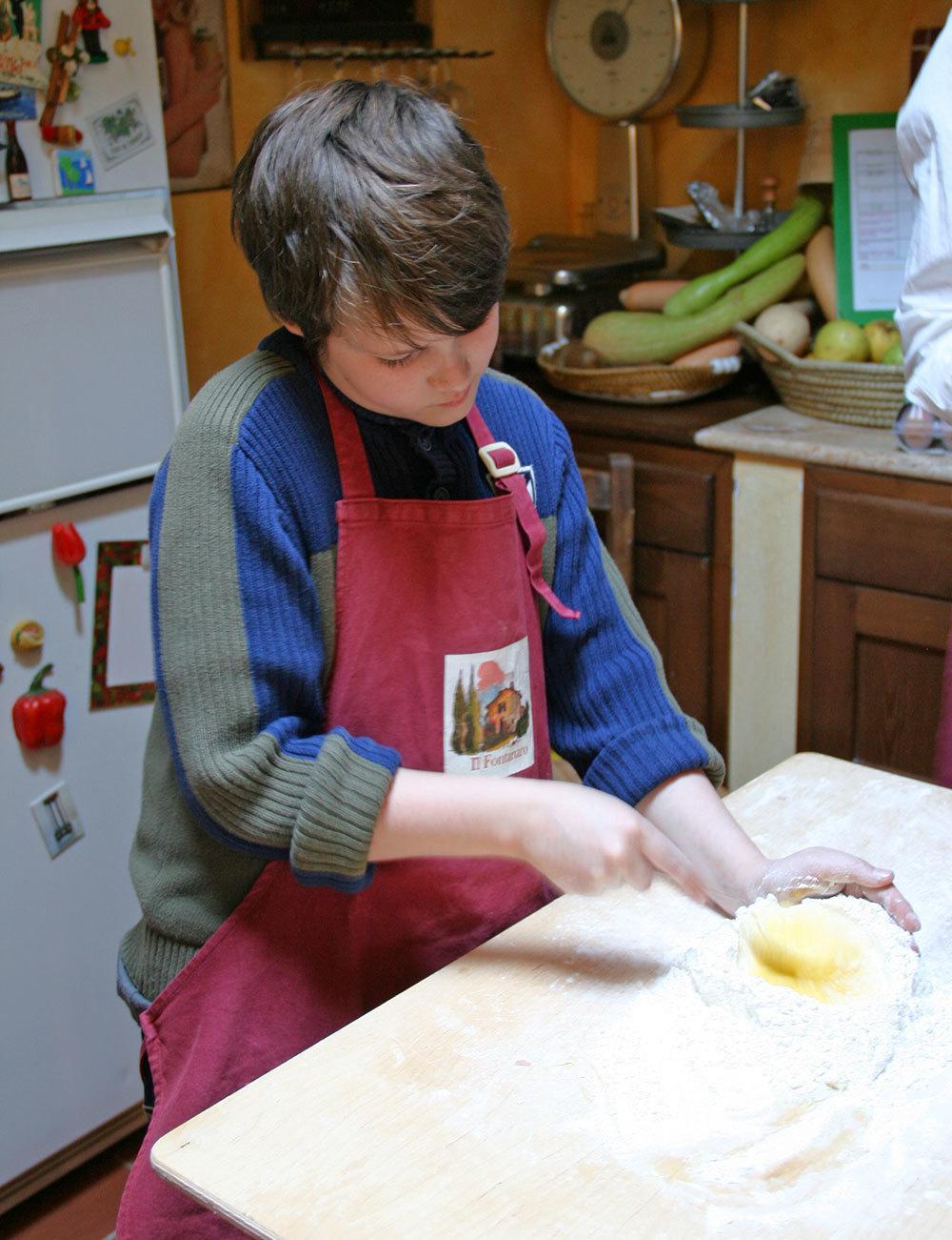 Our son Kristian making pasta.