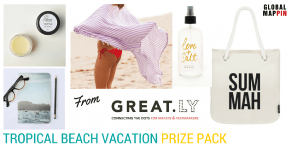 Tropical beach vacation prize pack