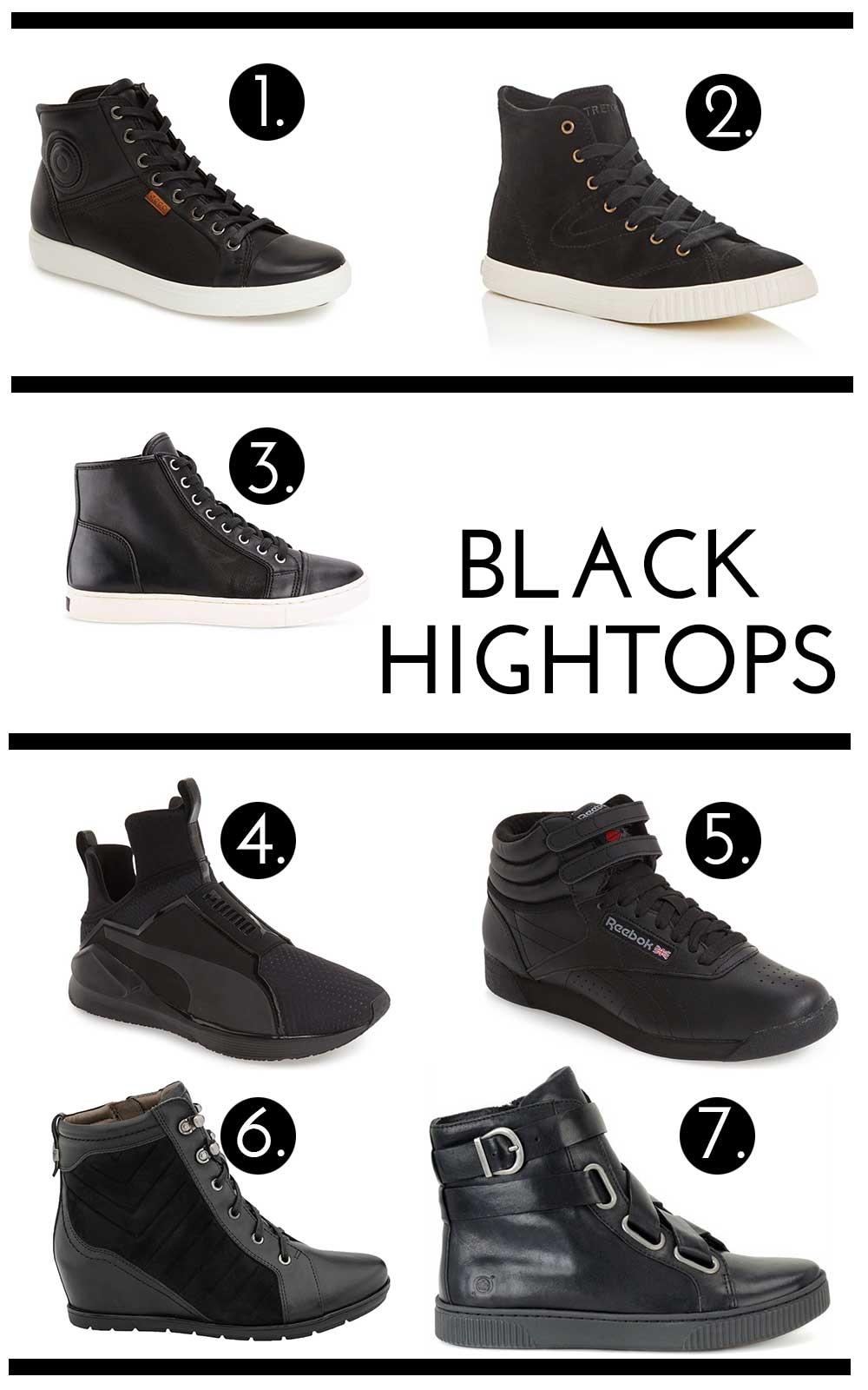 Minimal black high-tops for fall
